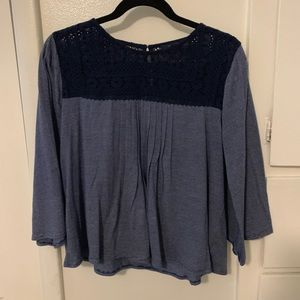 Lucky Brand Lace Eyelet Striped Tee
